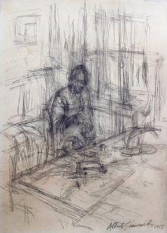 Alberto Giacometti ~ La mère de l'artiste, stampa, c.1951 (pencil on paper)