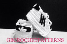 Crochet Pattern, Baby Adidas Sport Shoes, Full of photos, 4 sizes included, Baby Shoes pattern, NB to 1 year old, with video, US and UK,Sh07 by GBCrochetPatterns on Etsy https://www.etsy.com/listing/510174258/crochet-pattern-baby-adidas-sport-shoes