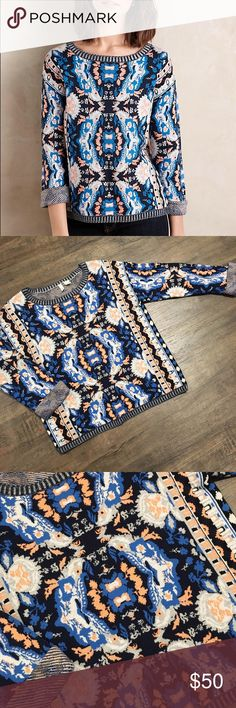 💙🌟 Anthropologie MOTH Cabine Pullover 🌟💙 NWOT! Never worn! This sweater is like a pattern lovers dream 😍 fabric is Cotton, modal, triexta, viscose. Slim silhouette with curved hem detail. Pull-on styling. I do have the skirt in my store and you'll receive a 20% discount when combined. Just bundle!   💁🏾✨Happy Poshing!😀  🌟 Suggested User 🌟 🙋🏾 Top 10% Sharer/Mentor ⭐️⭐️⭐️⭐️⭐️ 5 star Gal 📫 Fast Shipper!  Ships Same/Next Day📦  🏡 Odor Free 🐩 Pet Free 🚫NO PayPal/NO Trade/NO low…