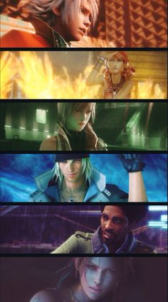 Final Fantasy XIII - L'Cie group Hope, Vanille, Lightning, Snow, Sazh, Fang