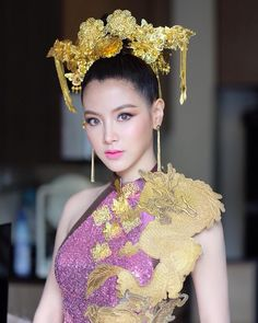 baifernbah Baifern Pimchanok Luevisadpaibul. Vogue Magazine, Beautiful Asian Women, Woman Face, Beautiful Actresses, Traditional Dresses, Asian Woman, Dress Collection, Asian Beauty, Clothes For Women