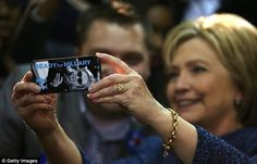Selfie time: Clinton got snap happy with a supporter's phone in Birmingham, Alabama