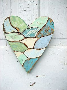 Mosaic Heart Reclaimed Wood Art Blue Mint Green by woodenaht, $38.00