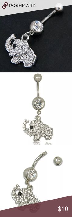 CRYSTAL ELEPHANT BELLY BUTTON RING PLUS GIFT ADORABLE CRYSTAL ELEPHANT  BELLY BUTTON RING IN SILVER COLORED SETTING PLUS GIFT. (BODY JEWELRY OR NAVEL RING). SURGICAL STEEL.  A GIFT OF TWO ASSORTED BELLY BUTTON RINGS IS INCLUDED. NEW Boutique Jewelry