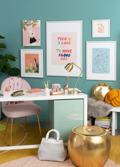 a fall-inspired home office… – Oh Joy! – Chic Home Office Design Office Wall Design, Home Office Decor, Cool Office Space, Small Office, Aqua Office, Best Office, Inspired Homes, New Room, House Colors