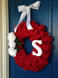 Red Burlap Wreath with White Accents by WoulfsCreations on Etsy