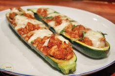 stuffed zucchini boats with chicken and mozzarella