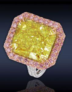 Yellow diamond pink pave diamonds