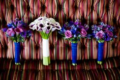 purple and blue bouquets