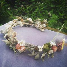 custom thin bridal crown, dried flower headband, rustic bridal crown, rustic wedding, neutral flower crown, woodland crown, sage green, pine