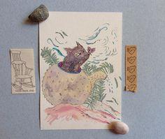 Illustrazione originale gatto e farfalla regalo per lei