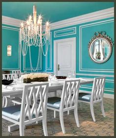 what about Tiffany Blue and white for the Loft? I may even be able to get us a can free since I know someone who did a room this color. We can keep the accents neutral