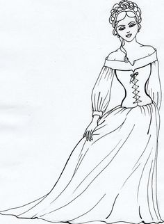 Princess, coloring page, black pen..