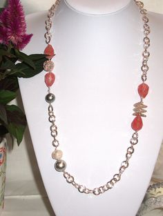 Ceris quartz and silver chain Necklace.  Handmade by Momentidoro, €50.00