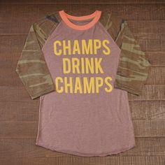Champs Drink Champs Camo Baseball Tee