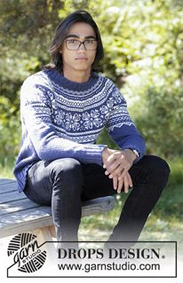 Lofoten - Men's knitted jumper with round yoke and multi-coloured Nordic pattern, worked top down. Sizes S - XXXL. The piece is worked in DROPS Lima. Fair Isle Knitting Patterns, Sweater Knitting Patterns, Free Knitting, Crochet Patterns, Mens Knit Sweater Pattern, Jumper Patterns, Lofoten, Drops Design, Norwegian Knitting