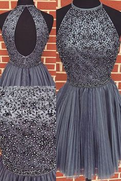 Charming A-Line Halter Beading Short Grey Tulle Prom Dresses homecoming,homecoming dress,short homecoming dress,a-line homecoming dress,halter,beading,grey,grey homecomig dress,dress,dresses,fashion,women's fashion