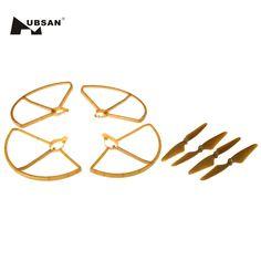 4Pcs Blades Propellers + 4Pcs Protection Frames for HUBSAN H501S H501C X4 RC Quadcopter Spare Part