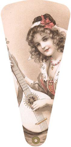 Wings of Whimsy: 1906 May Bowley Old Style Music Ladies Fan #vintage #ephemera #freebie #printable #fan kopi