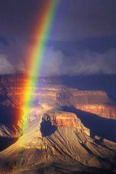Grand Canyon Rainbow - somewhere over the rainbow Cool Pictures, Cool Photos, Beautiful Pictures, All Nature, Amazing Nature, Beautiful World, Beautiful Places, Grand Canyon, Places To Travel