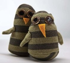 Sew yourself a friend or two! With this free stuffed toy sewing pattern you can make your own owl sock friend or give them away as gifts. Make in an evening; easy skill level; sew by hand