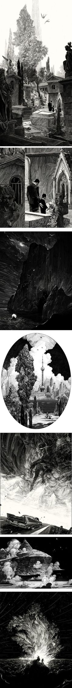 Nicolas Delort, a freelance illustrator based in Paris, creates wonderfully textural pen & ink (on scratchboard) illustrations: