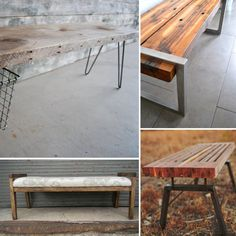 Reclaimed wood benches on Etsy