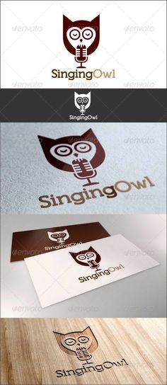 Singing Owl Logo — JPG Image #microphone #sing • Available here → https://graphicriver.net/item/singing-owl-logo/7611433?ref=pxcr