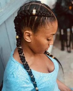 60 Inspiring Examples of Goddess Braids Two Goddess Braids with Cuffs and Wire # twist Braids with beads # Braids africanas con hilo Box Braids Hairstyles, 2 Braids, Big Box Braids, Braids With Beads, Pigtail Braids, Twist Braids, Dutch Braids, Updo Hairstyle, Havana Twists