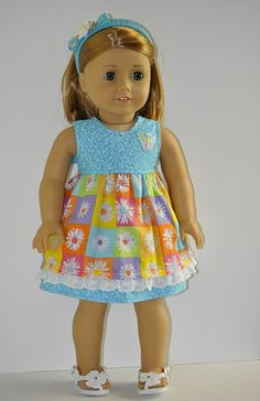 American Girl doll clothes dress headband shoes by OneGirlsDream, $27.50
