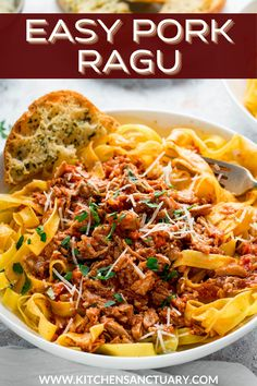 This slow-cooked pork ragu with Pasta is so lip-smackingly good! This recipe makes enough for 6-8 people, and it freezes well.I love serving mine over tagliatelle, topped with fresh parmesan and parsley, alongside some homemade garlic bread. #porkragu #slowcookedpork #slowcooked #pastarecipe #tomatosauce #tomatosaucerecipe #porkrecipe #porkragurecipe Easy Pasta Recipes, Pasta Salad Recipes, Pork Recipes, Pork Shoulder Steak, Pork Ragu, Homemade Garlic Bread, Tomato Risotto, Ragu Recipe, Slow Cooked Pork