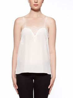 DETAILS  Crafted with soft and delicate lace trim, this lightweight, washed silk  crepe de chine Cami is your ultimate staple item. Feminine, classic and  timeless, this Cami will be perfectly integrated into your every day  style.Can easily be worn with a strapless bra.  • White lightly washed silk crepe de chine • Lace trim - 40% viscose, 60% polyamide •100% silk • Slips on • Dry Clean Only • Imported  SIZE & FIT  •True to size • Lightweight, non-stretchy crepe de chine silk •Made…