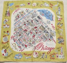 Vintage Chicago Souvenir Hankie    Here is a really cool vintage hankie featuring Chicago. In the center is a street grid map with Lake Michigan.