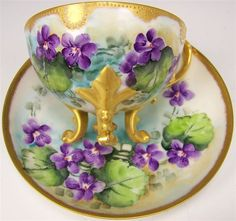 Exceptional Antique Unmarked French Limoges Hand Painted VIOLETS Cup and Saucer RARE MOLDING Footed Ornate Roman Gold French Floral Art Tea Cup circa 1900 ~ Sold for $295.