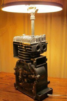 Engine Lamp by ElectricBrainStem on Etsy Car Furniture, Automotive Furniture, Automotive Decor, Vintage Industrial Lighting, Industrial Light Fixtures, Industrial Furniture, Metal Projects, Welding Projects, Car Part Art