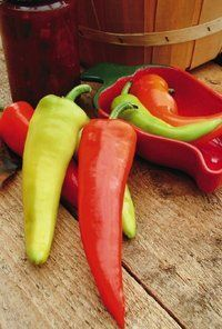 Hungarian Hot Wax Organic PepperAbundant yields of smooth tapering peppers. Ideal for pickling, roasting and frying. It starts out light yellow and matures to red. Yellow fruit at 60 days, 85 days to red. Approximately 50 seeds/Pkg