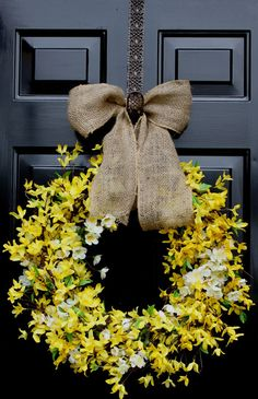 Spring wreath - Forsythia Wreath -  Summer Wreath - Home decor - Country Cottage - Wreath for door