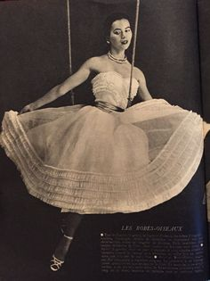 Jacques Fath- 1951 White silk organza strapless dress with pleated ruffles and a sweetheart neck line.  Elle No. 288- June 4, 1951