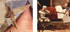 Piero della Francesca, Sogno di Costantino (due particolari), Storie della Vera Croce, Arezzo, Basilica di San Francesco