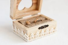 Wooden wedding box with a ivory lace trim - Ring bearer box, lace trim, romantic, rustic, ecofriendly, ivory, wedding decor on Etsy, $19.82 CAD