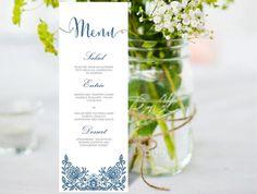 Wedding Menu Editable MS Word Template DIY | Lace Grey & Navy Blue