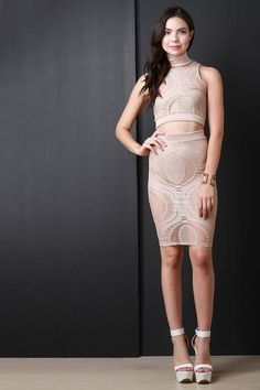 Oval Mesh Lace Pattern Midi Skirt $67.00