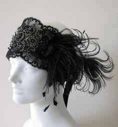 Black Lace Flapper Feather Headband. $98.00, via Etsy.
