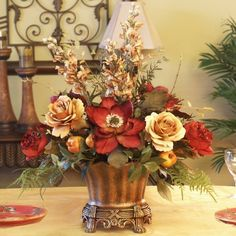 Silk Flower Centerpiece ~Roses And Magnolias Part 86