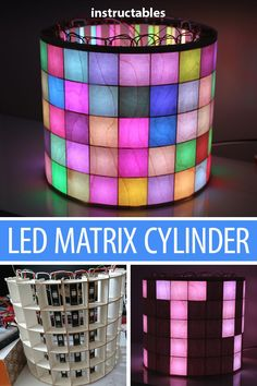 LED Matrix Cylinder: This LED matrix uses standard LED stripes to build a matrix with a cylindric shape and a nice wooden veneer finish.Partlist: cardboard mm (other sizes are also possible, but CAD data has to be changed) 100 LED from L. Diy Electronics, Electronics Projects, Electrical Projects, Electrical Work, Arduino Led, Pallet Kids, Iot Projects, Raspberry Pi Projects, Led Diy