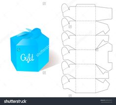 Box. Paper Blueprint. Gift Box craft. Mockup Template. Retail Cardboard with DIe-cut Pattern.