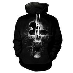 Hoodie Melted Skull Men Women Unisex Streetwear Pullover Full Print - The Online Explorer Death Metal, Skull 3d, Skull Hoodie, Pullover, Hoody, Cool Hoodies, Mens Sweatshirts, Printer, Street Wear