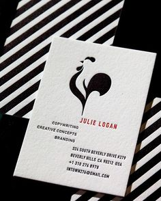 """WEBSTA @ clovestpress - Business cards for Julie Logan, designed by Visual Asylum. Julie describes her design goals here: """"My logo and card must appeal to upscale fashion, beauty and corporate clients here and abroad. At the same time I love chickens and I love stripes. But I highly doubt you'll be able to do anything with those and still make it work in a sophisticated way."""" MaeLin (the designer) said, """"Watch me!"""" """"And there's only one printer who can do it the way I want."""" #letterpress…"""