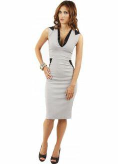 Petra Satin Contrast Grey Pencil Dress