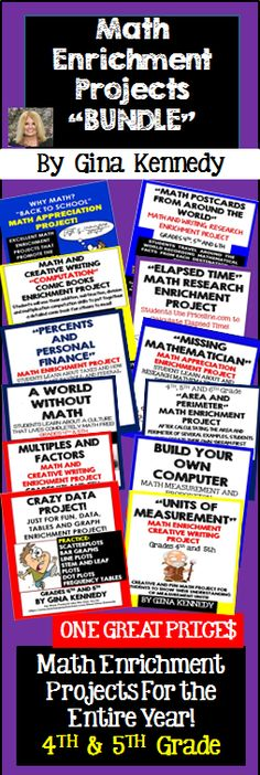 Math Projects to Challenge Your Students Throughout the Year! I have bundled twelve of my most popular no-prep math enrichment products. From area and perimeter, elapsed time, personal finance, measurement conversions, basic operations and more; all of these fun, engaging and creative projects are tried and tested and your students will love them. The projects in this bundle are great for advanced learners, early finishers, homework, group work or whole class fun. $